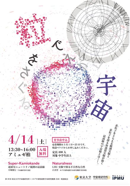 第18回東京大学宇宙線研究所×カブリIPMU合同一般講 演会「粒をさぐる・粒でえがく宇宙」